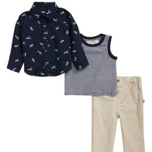 Pippa & Julie Fossil Shirt, Tank & Pants Set